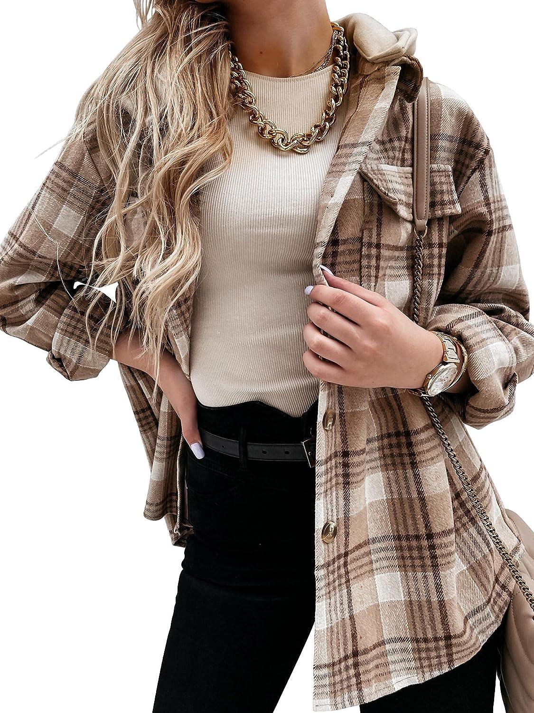 Imily Bela Womens Plaid Hooded Shacket Jacket Casual Long Sleeve Button Down Shirts Coats