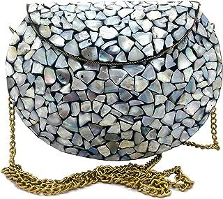 Trend Overseas Women/Girls Bridal metal Sea shell clutch party sling bag Ethnic Indian Handmade mosaic metal bag