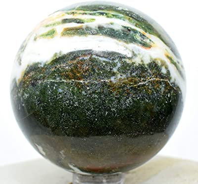 52mm 190g Green White w/Red Agate Carved Sphere Polished Natural Chalcedony Gemstone Crystal Mineral Ball - India + Stand