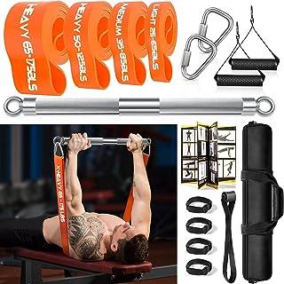 DASKING Fitnessapparaten voor thuis, fitnessband, weerstandsband, barset, met 4 weerstandsbanden, 58 cm, krachttrainingsst...
