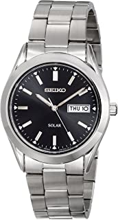 Seiko Men's Silvertone Black Dial Solar Calendar Watch