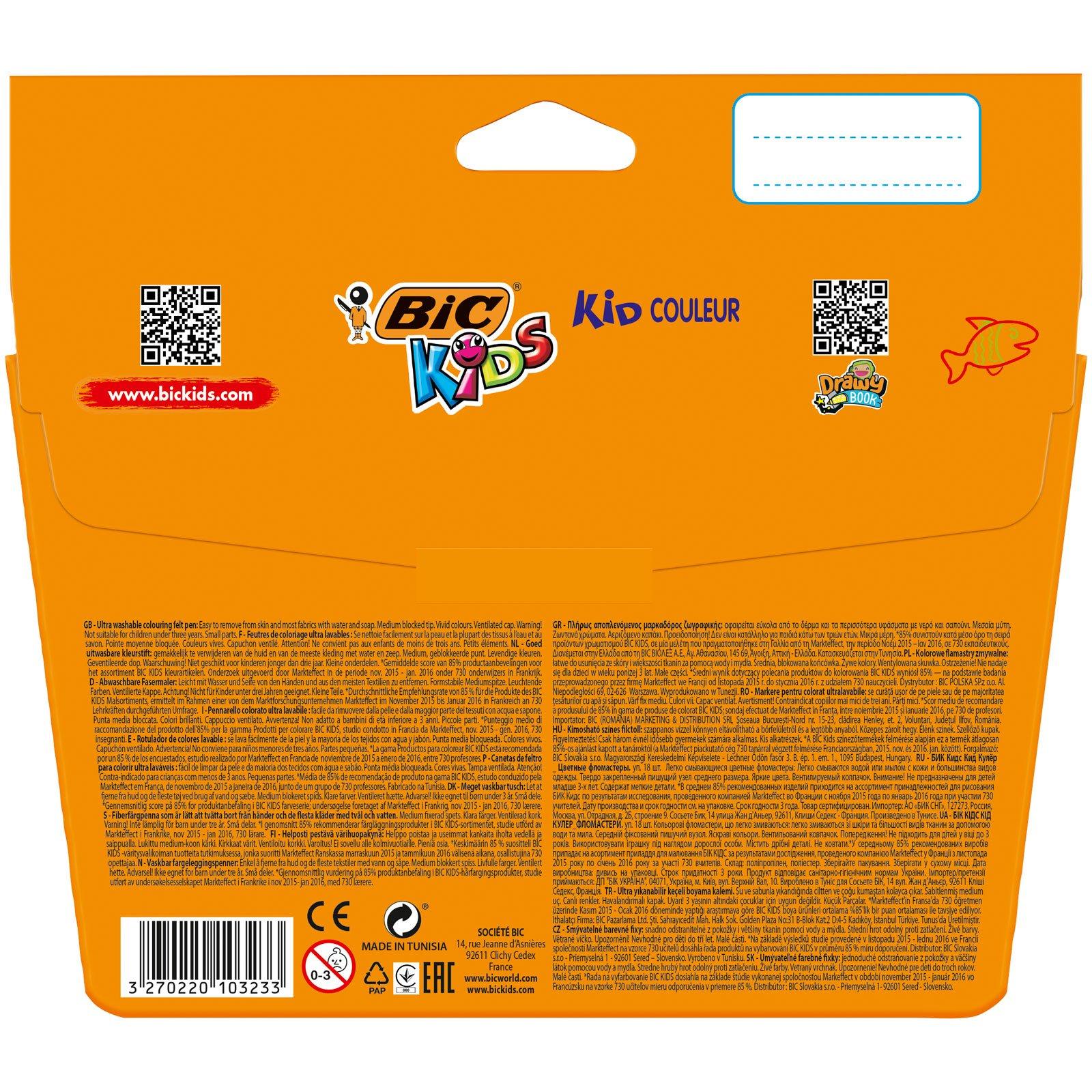 BIC Kids Kid Couleur - Blíster de 14 + 4 rotuladores de colorear para aprendizaje, multicolor: Amazon.es: Oficina y papelería
