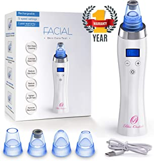 Blackhead Remover, Vacuum Suction Facial Pore Cleanser, Acne Comedone cleaner, Electric Microdermabrasion Machine, Comedo Whitehead Extractor device for Skin treatment for Women and Men - Rechargeable