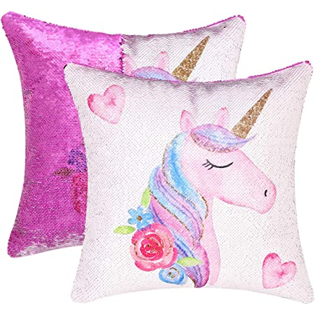 Cygnus Unicorn Mermaid Sequin Pillow Case Color Change Reversible Sequin Bedroom Decor Pillow Cover Unicorn Gifts For Girls Or Boys 16 X16 Unicorn E Purple Sequin Home Kitchen