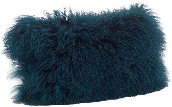 Occasion Gallery Teal Color Genuine Mongolian Real Lamb Fur Decorative Throw Pillow Polyester Filled 12 X 20 Rectangular