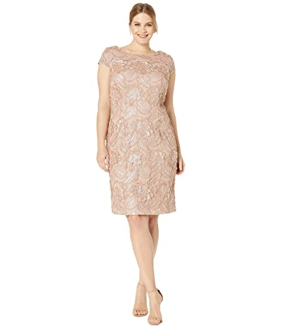 Alex Evenings Plus Size Midi Embroidered Dress with Sequin Detail (Rose Gold) Women