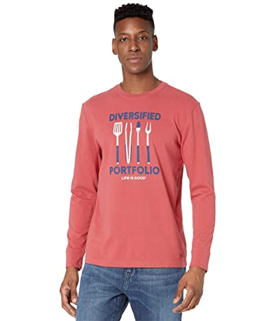 Life is Good Diversified Portfolio Grill Long Sleeve Crushertm Tee (Faded Red) Men