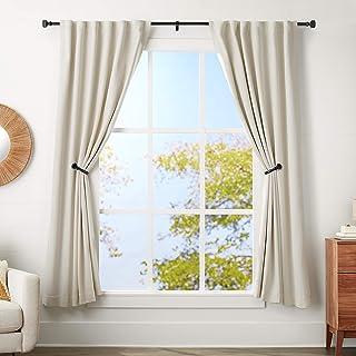 AmazonBasics 1-Inch Square Finial Curtain Rod with Curtain Holdbacks - 72 to 144 Inch, Black