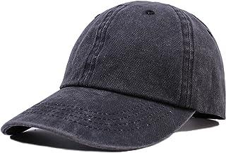Unisex Plain Washed Cotton and Denim Baseball Cap Adjustable Dad hat