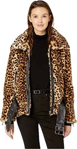 Leopard Faux Fur Jacket with Belt in Note To Self
