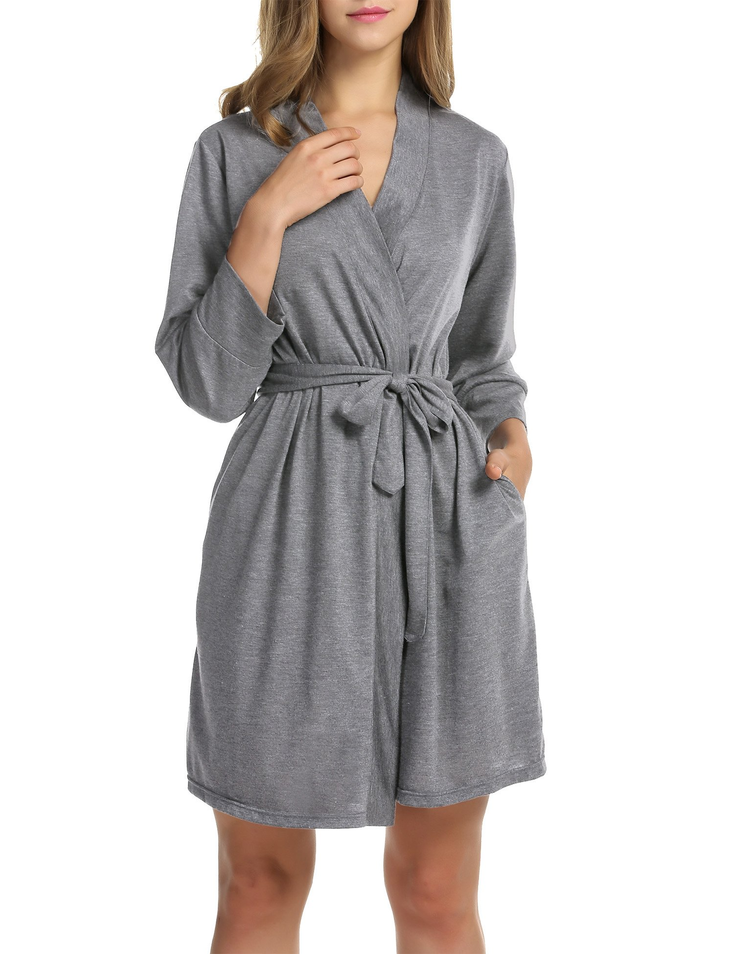 Image of A Customer Favorite: Heather Gray Short Robe for Women - More Colors Available