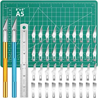 DIYSELF Knife Upgrade Precision Carving Craft Knife Hobby Knife Kit, Ruler, Cutting Mat with 40 Spare Blades for Art, Scra...