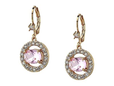 Nina Thandie Round Pave Link Drop Earrings (Gold/Light Rose Crystal/White CZ) Earring