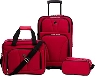 Travelers Club Bowman 3-Piece Expandable Luggage Set, Red, (Dopp/Tote/20)