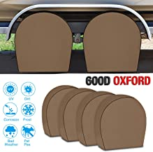 RVMasking Tire Covers for RV Wheel Set of 4 Heavy Duty 600D Oxford Motorhome Wheel Covers, Waterproof PVC Coating Tire Protectors for Trailer Truck Camper Auto, Fits 24