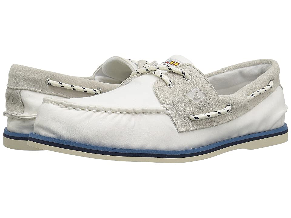 Sperry A/O 2-Eye Nautical Canvas (White) Men
