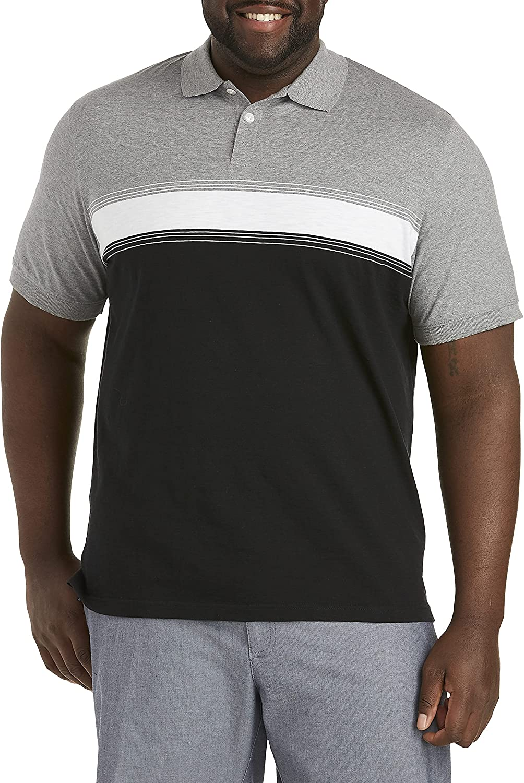 Harbor Bay by DXL Big and Tall Stripe Polo Shirt, Black Multi