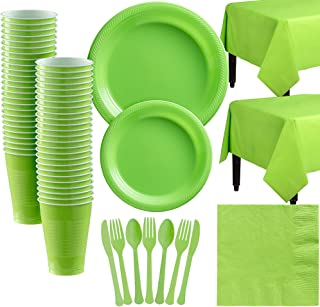 Amscan Kiwi Green Plastic Tableware Kit for 50 Guests, Party Supplies, Includes Table Covers, Plates, Cups and More