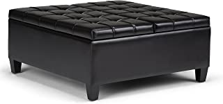 Simpli Home AXCOT-265-BL Harrison 36 inch Wide Traditional Square Coffee Table Storage Ottoman in Midnight Black Faux Leather