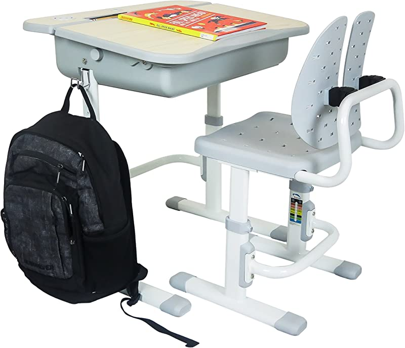 The House Of Trade Height Adjustable Kids Desk And Chair Set Student Desk For Kids Homework For Ages 3 To 10 Gray