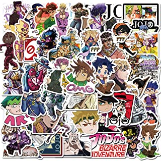 50 Pcs Anime Stickers for JoJo's Bizarre Adventure,Stickers for Water Bottle Laptop Skateboard Luggage Flask Computer Car Phone,Cool Trendy Vinly Waterproof Stickers for Teens Boys Kids Girl.