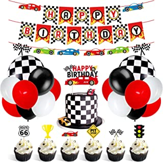 Race Car Party Decorations Supplies Racing Party Banner Race Car Birthday Cake Topper Checkered Flags Balloons for Let's g...