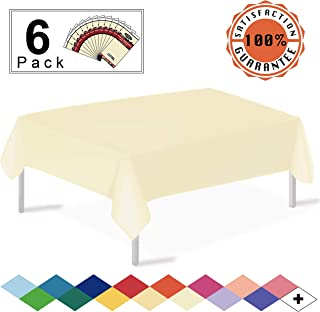 Ivory Plastic Tablecloths Disposable Table Covers 6 Pack Premium 54 x 108 Inches Table Cloth for Rectangle Tables up to 8 Feet and for Picnic Birthdays Weddings any Events Occasions, PEVA Material