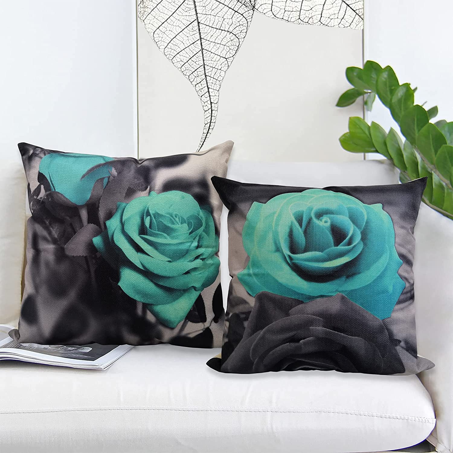 HSINYA Set of 2 Throw Pillow shop Squ Flowers Black Cheap mail order specialty store Background Covers