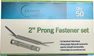2 Inch Capacity Prong Paper Fastener Set, 2.75 Inch Base, Box of 50 by Olympx