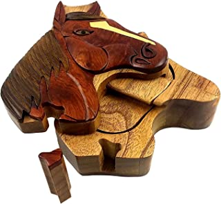 Oberstuff Mane Stay Horse Head All Natural Exotic Woods Puzzle Box, 4.75 X 4.5 X 2 with Sliding Wooden Key Lock, Sliding Cover and Inner Lid to Hidden Compartment. Hand-Made Wood Onlay Design on Lid.