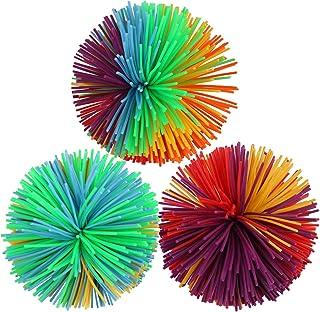 CABAX Monkey Stringy Balls, Soft Stress Balls Monkey Balls Sensory Fidgets Toys Rainbow Colorful Bouncy Pom Ball Stress Re...