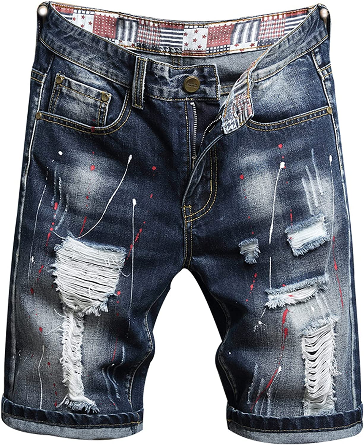 Men's Jean Casual Short Pants Straight Distressed Fit Ripped Denim Shorts Summer Knee Length Destroyed Hole Jeans