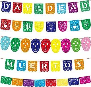 5 Pieces Day of The Dead Papel Picado Banners Mexican Picado Banners Fiesta Banners Dia De Los Muertos Picado Banner Hallo...