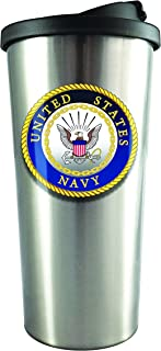Spoontiques 20829 U.S. Navy Stainless Steel Travel Mug, 18 oz, Silver