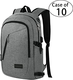 Case of 10,YOREPEK Business Laptop Backpack, Travel College School Computer Bag with USB Charging Port&Headphone Interface,Water Resistant Bookbag for Women Men, Fits 15.6 Inch Laptop Notebook(Gray)