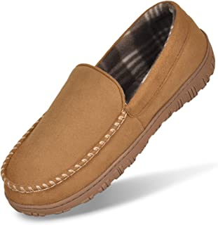 Men's Cozy Moccasin Slippers Anti-Skid Slip On House Slippers with Memory Foam