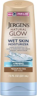 Jergens Natural Glow +Firming Body Moisturizer, Medium to Tan Skin Tone, 7.5 Ounce Wet Skin Lotion, featuring Collagen and Elastin, Helps to Visibly Reduce Cellulite