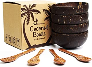 Set of 4 Vietnamese Coconut Bowls & Spoons by Okey Kitchen | 100% Natural, Organic, Eco-Friendly, Vegan, Buddha Smoothie Coco Bowls & Spoons from Ben Tre Artisan Craft