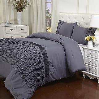 Superior Arabella 3-Piece Comforter Set, Chic Pinch Pleated Comforter with Pillow Shams, All Season Down Alternative Fill,...