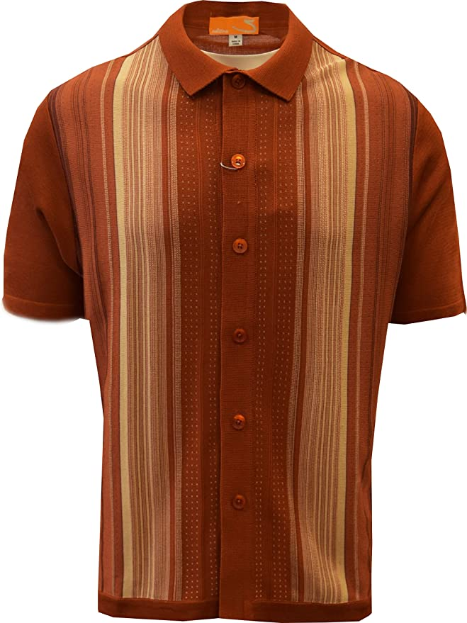 Men's Vintage Sweaters, Retro Jumpers 1920s to 1980s SILVERSILK Edition S Mens Short Sleeve Knit Shirt- California Rockabilly Style: Multi Stripes $39.00 AT vintagedancer.com