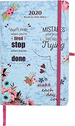 2019-2020 Academic Diary Week to View A5 Organiser Planner. Starts 1st Aug' 2019 Until December 2020. Life Inspirational Slogans Art Cover by Arpan (Light Blue)