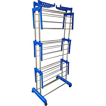 LAKSHAY Double Pipes Supports Drying Stand with Wheels Stainless Steel Floor Cloth Dryer Stand (Blue)