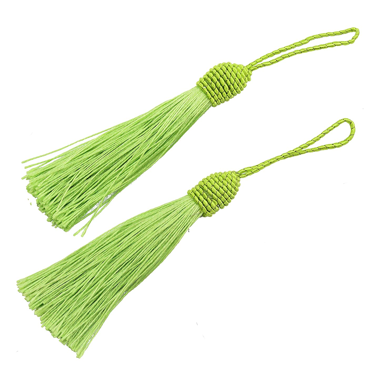 20pcs 15.5cm/6 Inch Silky Floss Bookmark Tassels with 2-Inch Cord Loop and Small Chinese Knot for Jewelry Making, Souvenir, Bookmarks, DIY Craft Accessory (Light Green)