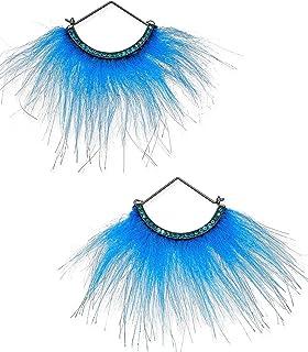Betsey Johnson xox Trolls Faux-Fur Fan Earrings Blue