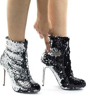 4fdad045a20 Wild Diva Metallic Reversible Sequins High Heel Dress Bootie