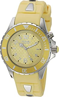 KYBOE! Power Stainless Steel Quartz Watch with Silicone Strap, Yellow, 20 (Model: KY.40-038.15