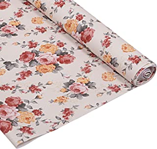 Kuber Industries Flower Design PVC Wardrobe Kitchen Drawer Cupboard Cabinet Shelf Mat, Shelf Liner 5 Mtr (Cream) - CTKTC040186