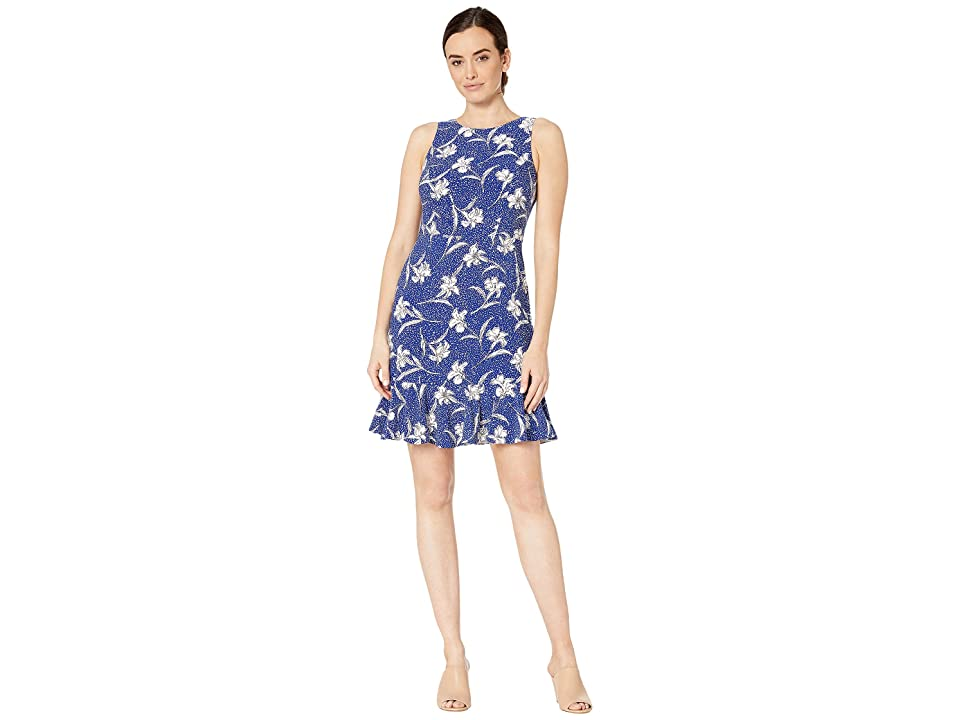Nine West Floral Speckle Sleeveless Dress w/ Panel Hem (Royal/Ivory Multi) Women