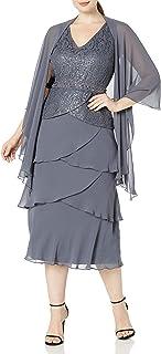 سترة رداء قصير للنساء من S.L. Fashions مقاس كبير من قطعتين مع فستان بلا أكمام
