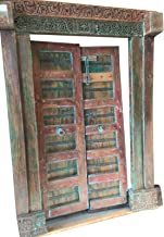 Mogul Interior Antique Doors Bohemian Floral Red Blue Patina haveli Carved Teak Indian Architecture Double Door Panel 18c